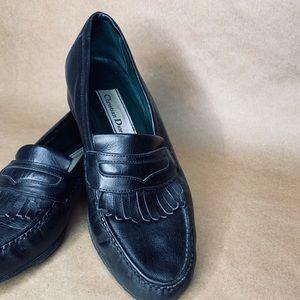 Vintage Christian Dior black loafers.